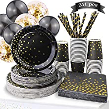 311PCS Black and Gold Party Supplies - Disposable Paper Plates Dinnerware Set Rose Gold Dots 50 Dinner Plates 50 Dessert Plates 50 Cups 50 Napkins 50 Straws 60 Balloons Birthday Party Wedding Holiday
