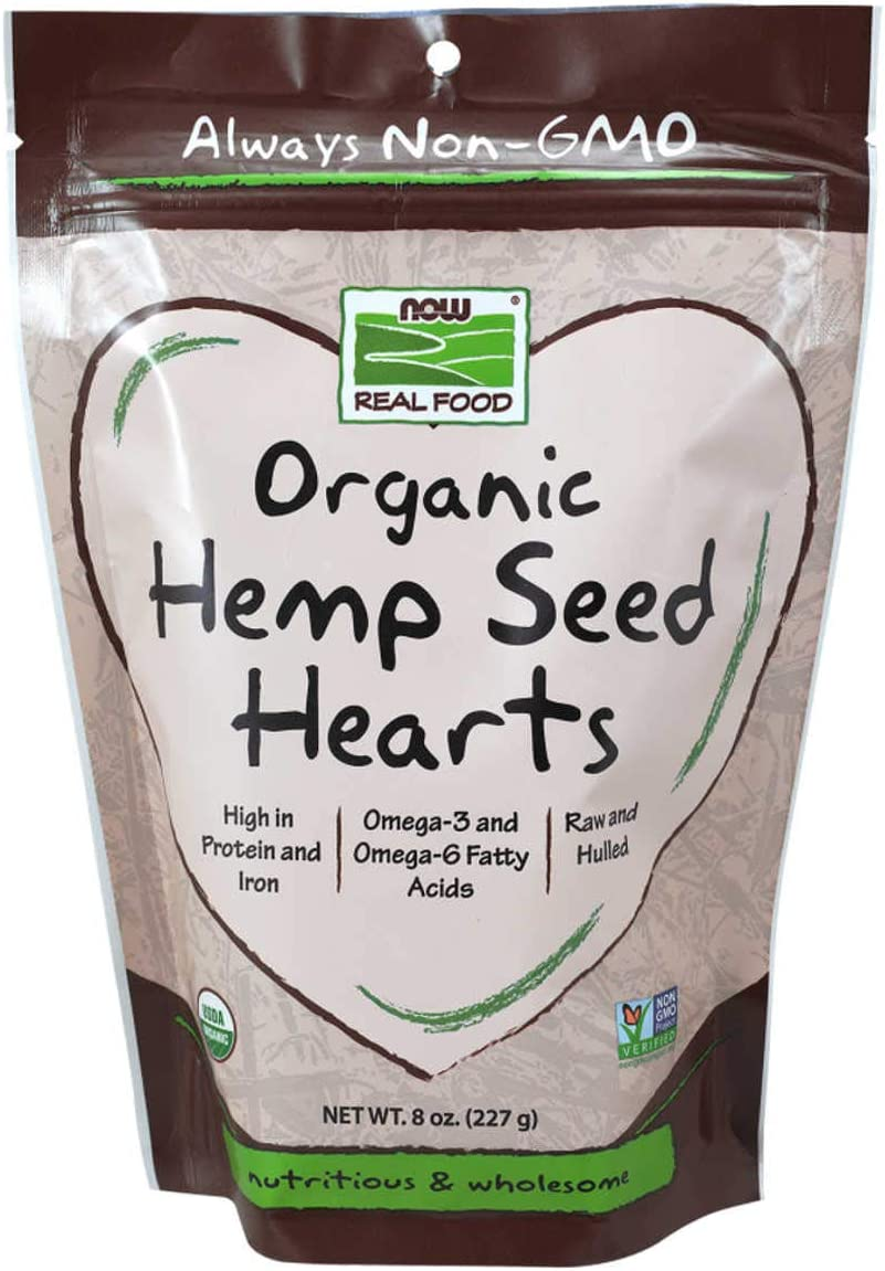 NOW Foods, Organic Hemp Seed Hearts, High in Protein and Iron, with Omega-3 and Omega-6 Fatty Acids, Raw and Hulled, 8-Ounce