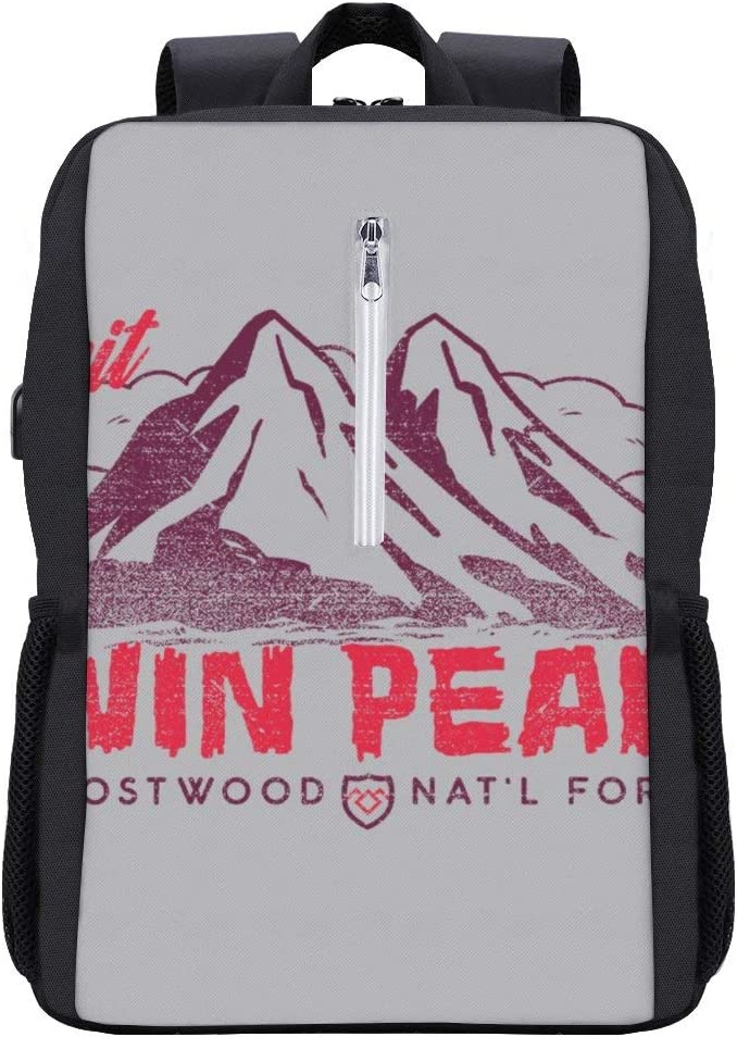 Visit Twin Peaks and Ghostwood National Forest Burgundy Backpack Daypack Bookbag Laptop School Bag with USB Charging Port
