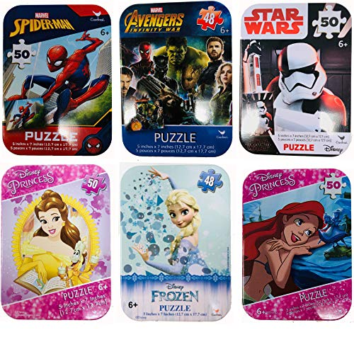 Puzzle Tins 6 Collectible Boy Girl Marvel Spiderman Cardinal 24 50 Pieces Ages 5+ 6+ Star Wars Storm Trooper, Spiderman, Avengers, Little Mermaid, Belle, Frozen Princess Bundle Gift Set ()