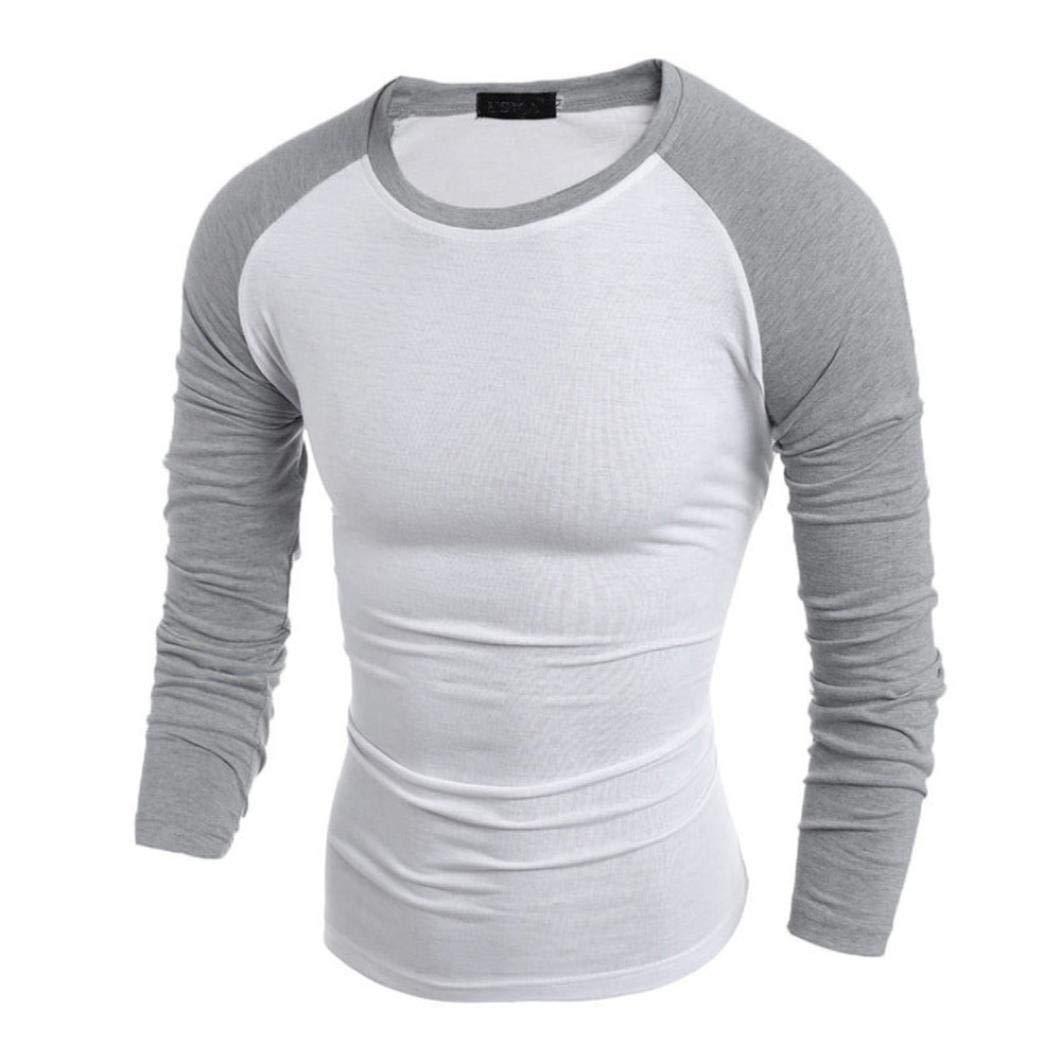 kingf Men Long Sleeve T-Shirt Plain Cotton Tee Casual Bottoming Top Blouse Shirt kingfansion Men Top