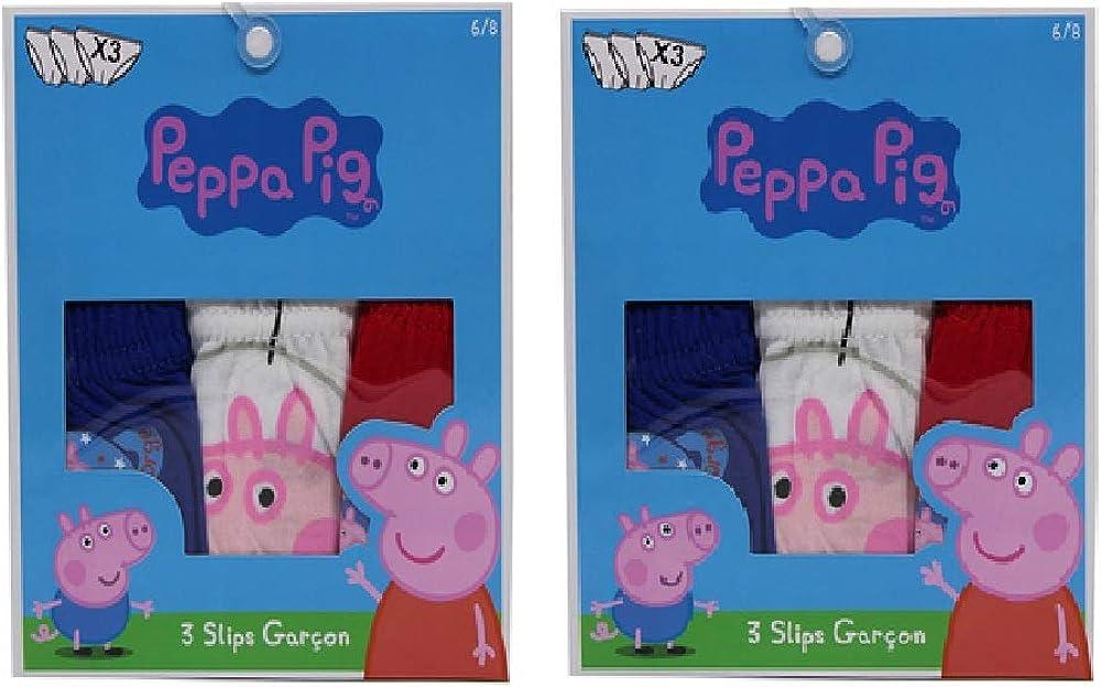 ni/ños PeppaPig Calzoncillos de Ropa Interior Peppa Wutz con Georg Wutz en el Paquete de 6 Paquetes de 100/% algod/ón Calzoncillos Coloridos para ni/ños Azul Rojo y Blanco