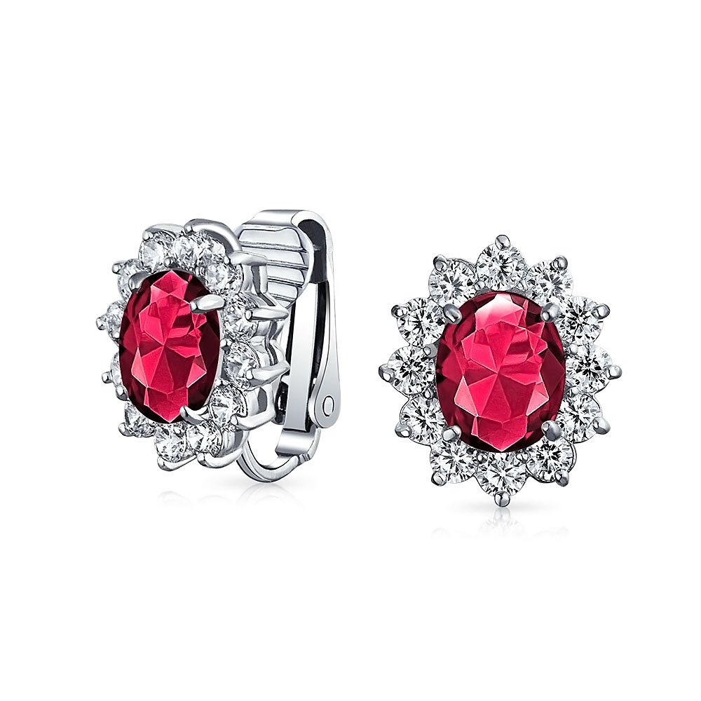 Simulated Ruby CZ Clip On Bridal Earrings CZ Rhodium Plated Brass