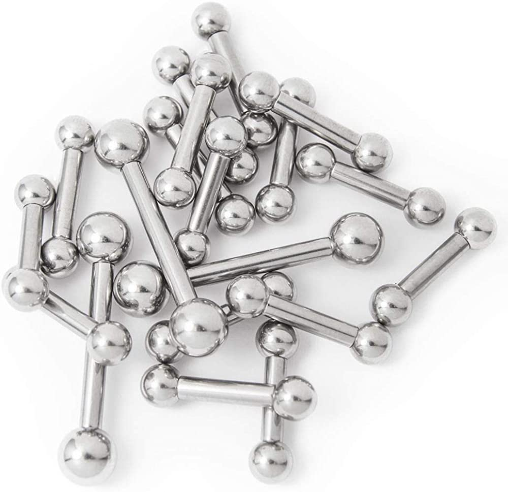 20pc Tongue rings Straight Barbell 8g Mix Lengths 316L Surgical Steel