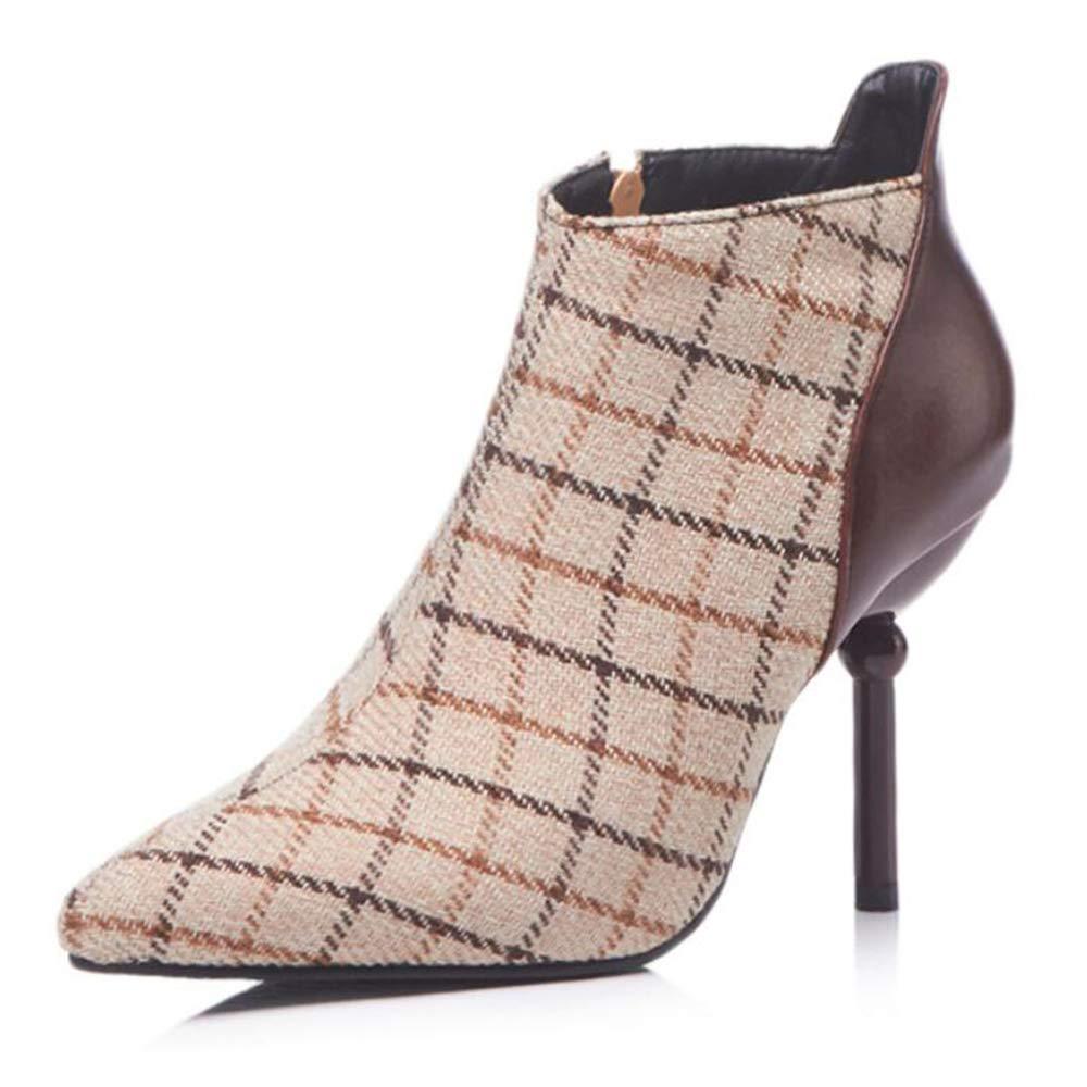CITW Damenstiefel Herbst Und Winter Sexy Stiletto High Heel Spitz Große Größe Low Tube Damenstiefel Martin Stiefel,braun,UK2 EUR36