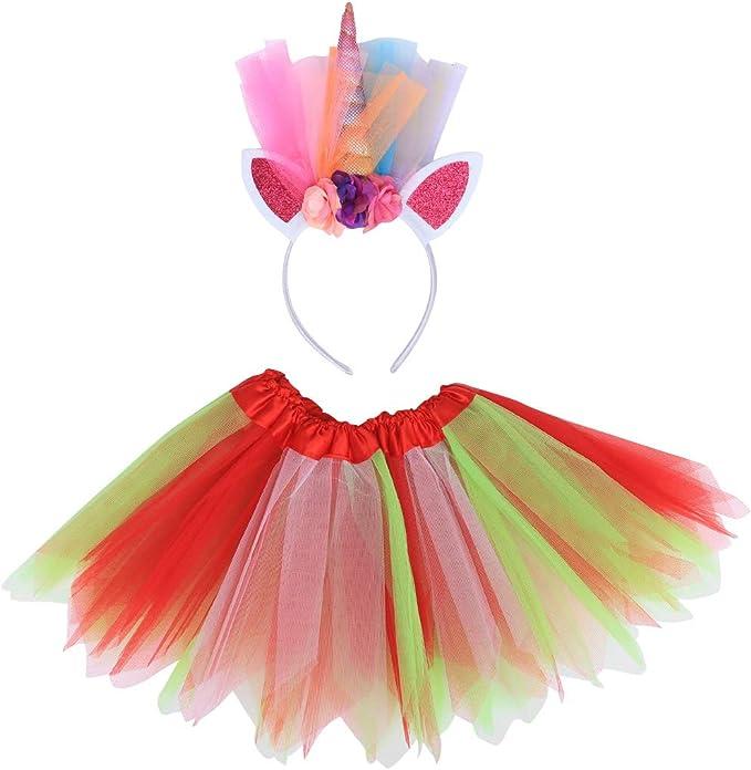 TENDYCOCO Vestido de Princesa con Falda de tutú para niñas Unicorn ...