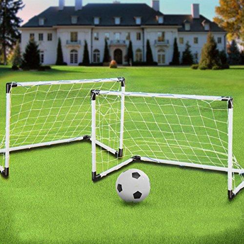 (2 Mini Set Football Soccer Goal Post Net + Ball + Pump Kids Outdoor Sport Training)