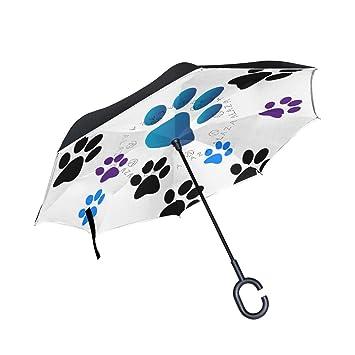 Soloatman Paraguas Reversible con Forma de C para Manos Libres ...