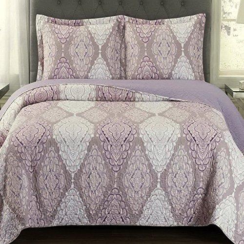 Finely Stitched Quilt Coverlet Shams Set King/Cal King Size Oversized (110x96) Mandala Medallion Pattern Lightweight Reversible Wrinkle Free Hypoallergenic Bedding Purple Plum ()