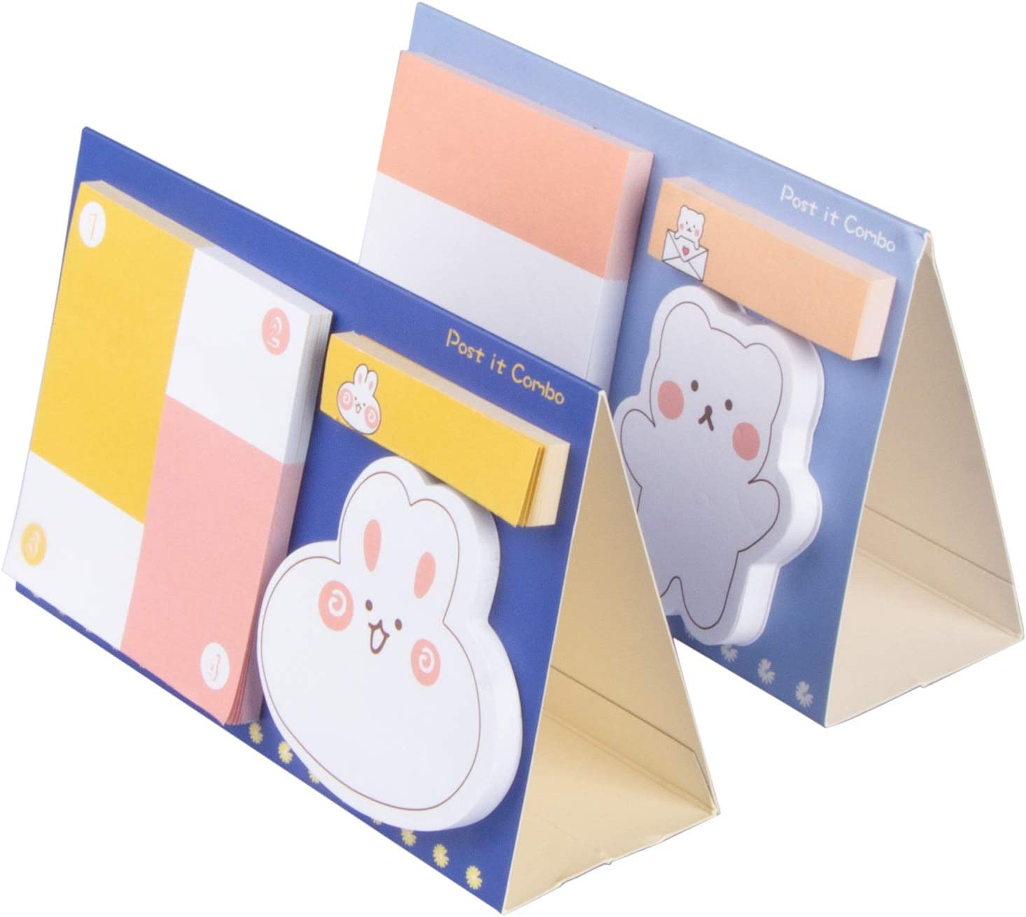 Aobopar 2 Pack Cute Animal Cartoon Sticky Notes, 300PCS Self-Stick Memo Pads, Notes for School Home and Office Use, Funny Book Page Markers and Index Tabs (A+C)