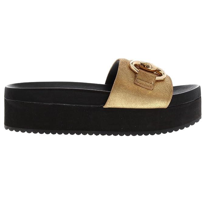 Steve Madden Damen Jericho Platform Sandal Sandaletten gold 4.5