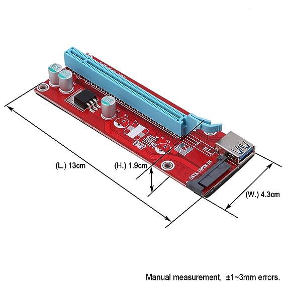 Yibuy SATA 007S - Tarjeta elevadora PCI-E (1 x a 16 x, Cable ...
