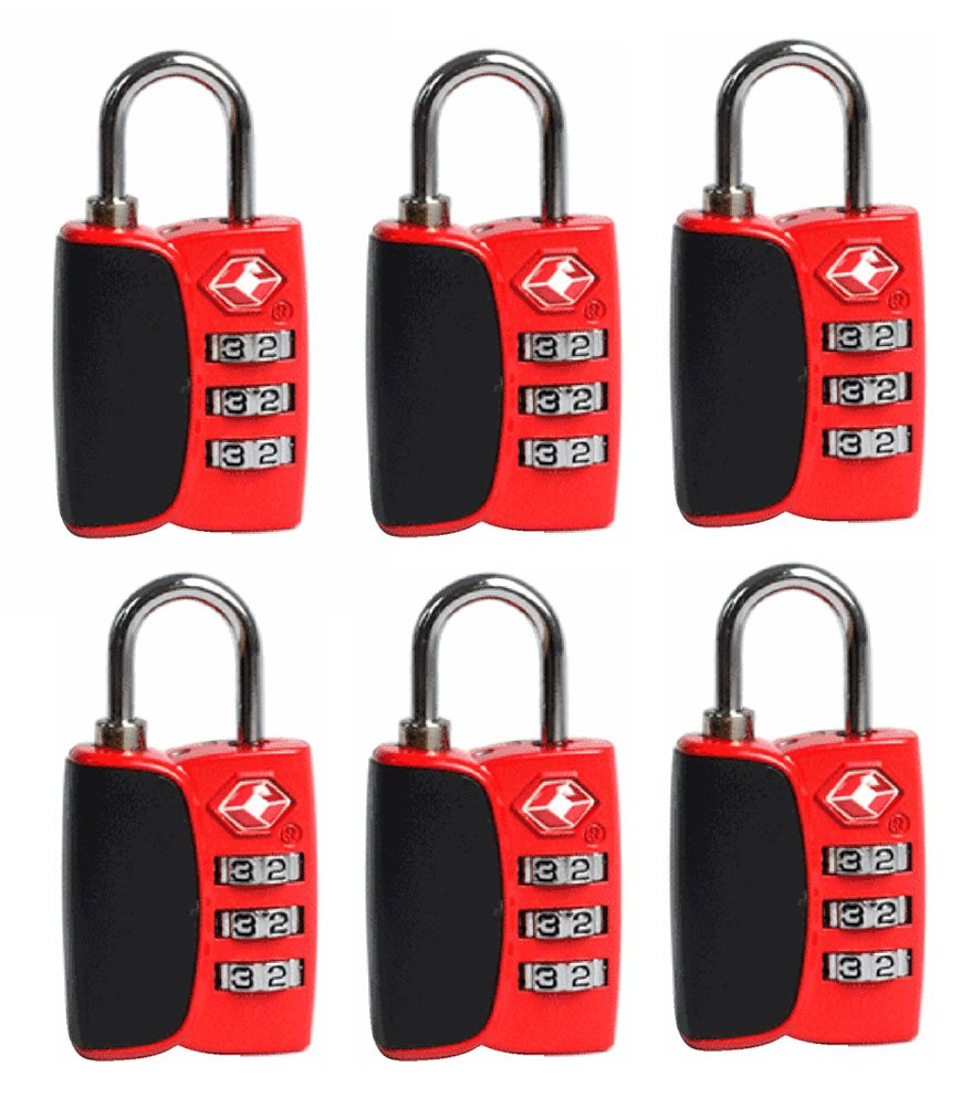 tslock-tsa承認旅行荷物ロックwith Openアラートインジケータ free size B07DC8RZZ1 red 6 pack