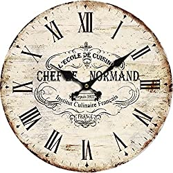 Grazing 12 Cute Cartoon Vintage Owl Design Arabic Numerals Rustic Country Tuscan Style Wooden Decorative Round Wall Clock (France Normand)