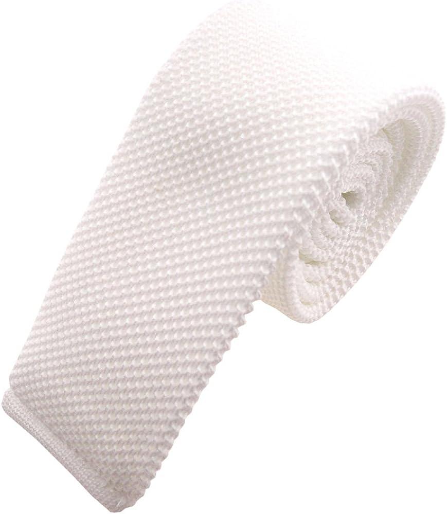 Krawatte Polyester Tie ohne Markenname Schmale Strickkrawatte wei/ß schneewei/ß einfarbig uni