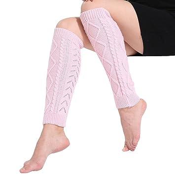 Goodsatar Mujeres Invierno Acrílico Calentadores de piernas Cable Punto crochet Calcetines largos 42 cm (Rosa): Amazon.es: Deportes y aire libre