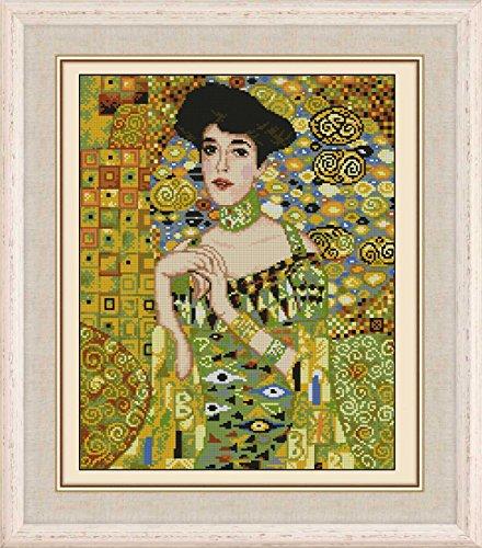lady in painting cross stitch,Egypt cotton thread 14ct 160x220stitch,40x46 counted cross stitch kits
