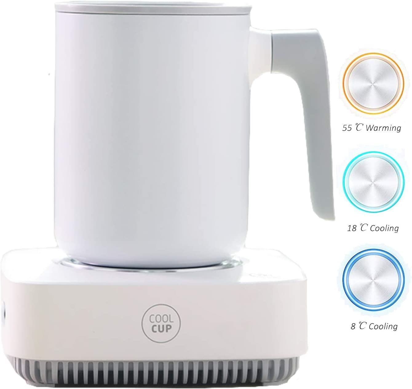 Coffee Warmer Cup Cooler Desktop 2in1, Coffee Tea Drinks Mug Warmer or Cooler Desktop, 31℉ - 46℉ Heating and Cooling Beverage Plate For Water,Milk,Beer,Cocoa
