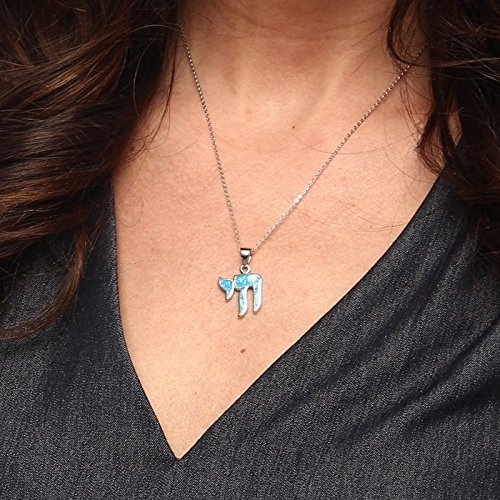 """Sterling Silver Created Blue Opal Hebrew """"Chai"""" (Life) Pendant with 18"""" Chain"""