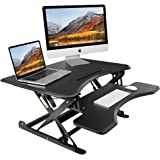 "TaoTronics Height Adjustable Standing Desk, 32"" Pneumatic Adjustable Stand Up Desk with Quick-Release Removable Keyboard Deck"