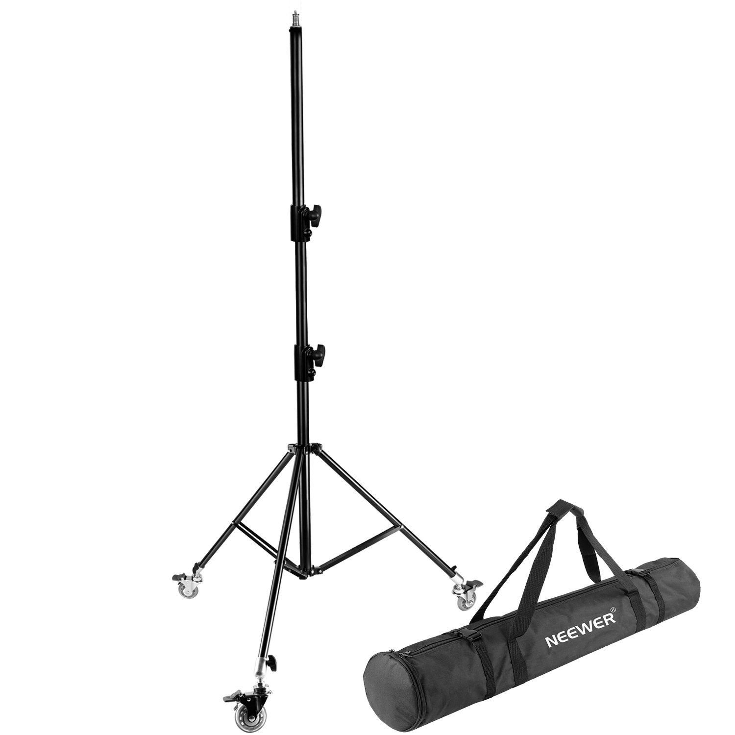 Neewer Pro Version Photography Adjustable 102 inches/260 centimeters Light Stand Tripod with Caster Wheels and Carrying Case for Ring Light Studio LED Light Softbox Reflector Umbrella and Background