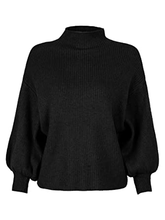 PERSUN Women s Black Turtleneck Long Puff Sleeve Loose Knit Pullover Sweater  Jumper Top c2c0db5265ea