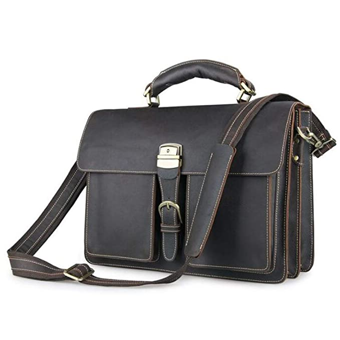 Amazon.com | Man Work Bag Crazy Horse Thick Cow Leather ...