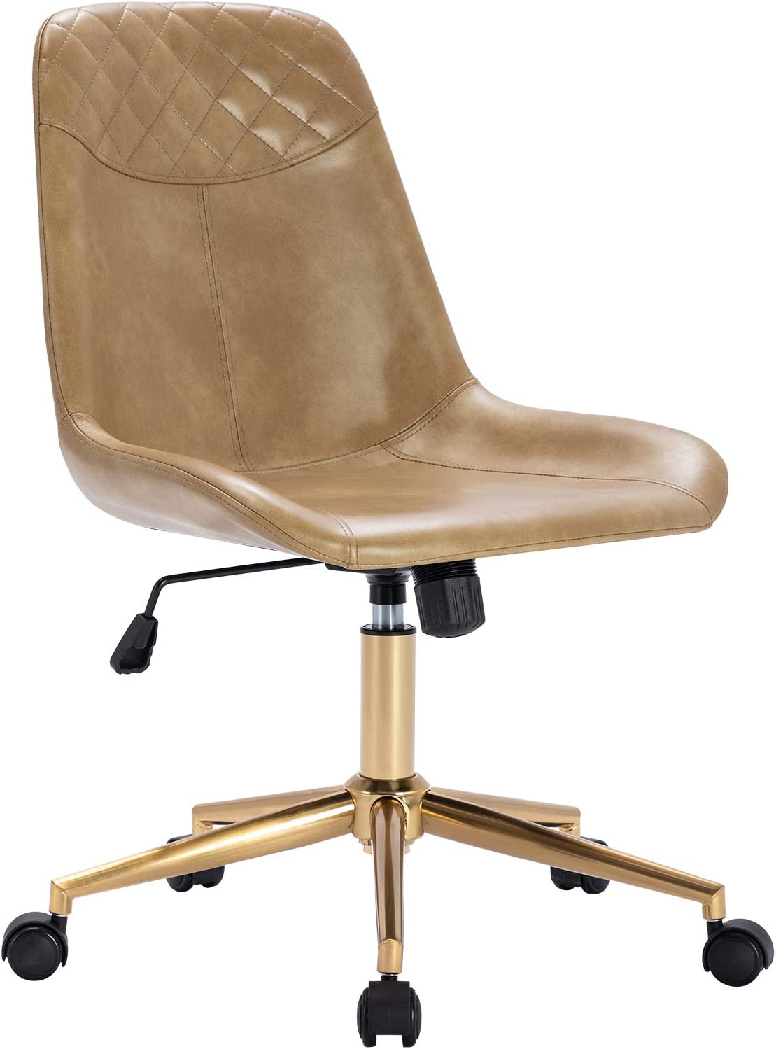 Duhome Modern PU Leather Office Chair Desk Chair Swivel Computer Chair with Gold Base Cream