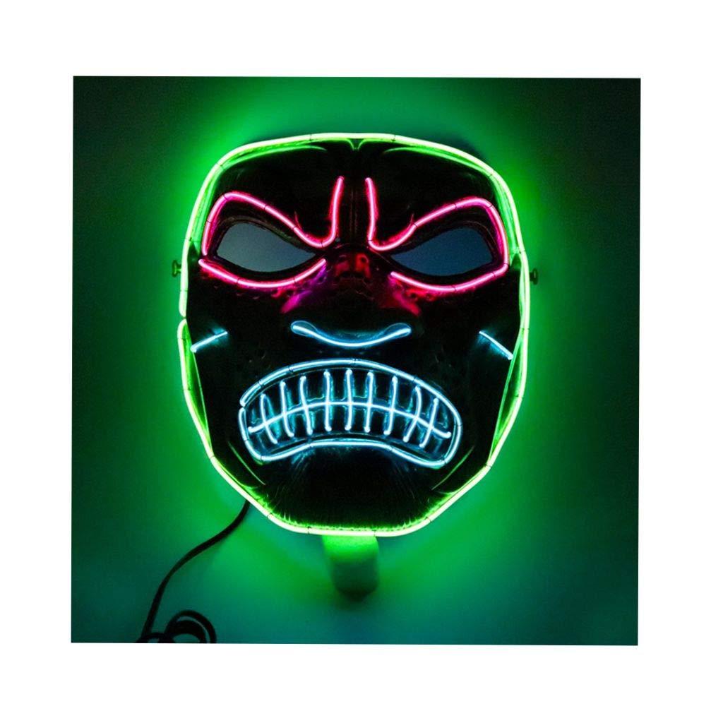 Amazon.com: PIKAqiu33 Halloween Cosplay Scary LED Flash Face ...
