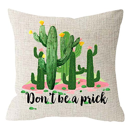 Ink Painting Tropical Plants Cactus and Succulents Summer Gift Funny Quote Dont Be A Prick Beige Cotton Linen Cushion Cover Pillow Case Cover Home Chair Couch Outdoor Decor Square 18x18 inches