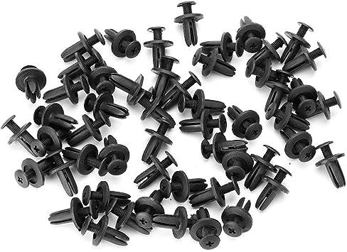 sourcingmap/® Rivetti a pressione in plastica nera,clip di chiusura da 6mm,confezione da 20