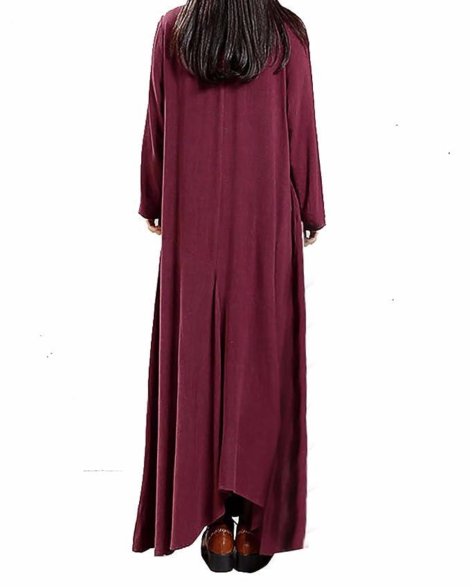 c233fbd18cf StyleDome Femme Robe Longue Coton Col Rond Manches Longues Casual Lâce  Large Tunique Robe de Cocktail  Amazon.fr  Vêtements et accessoires