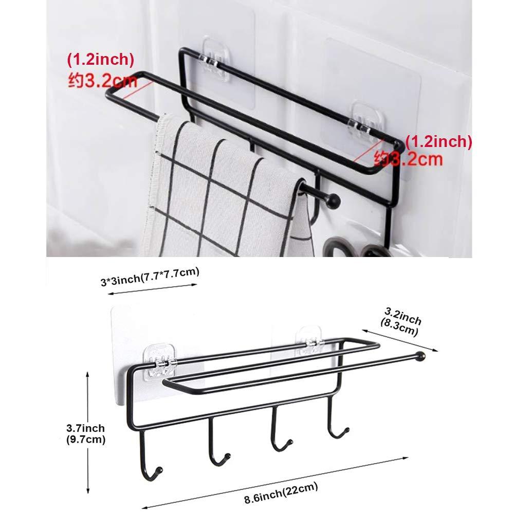 EigPluy Kitchen Utensil Rack Multifunction Utensils Hanging Hooks with Paper Roll Holder, Drilling Free Hanger Hooks for Hanging Knives,Spoons,Can ...
