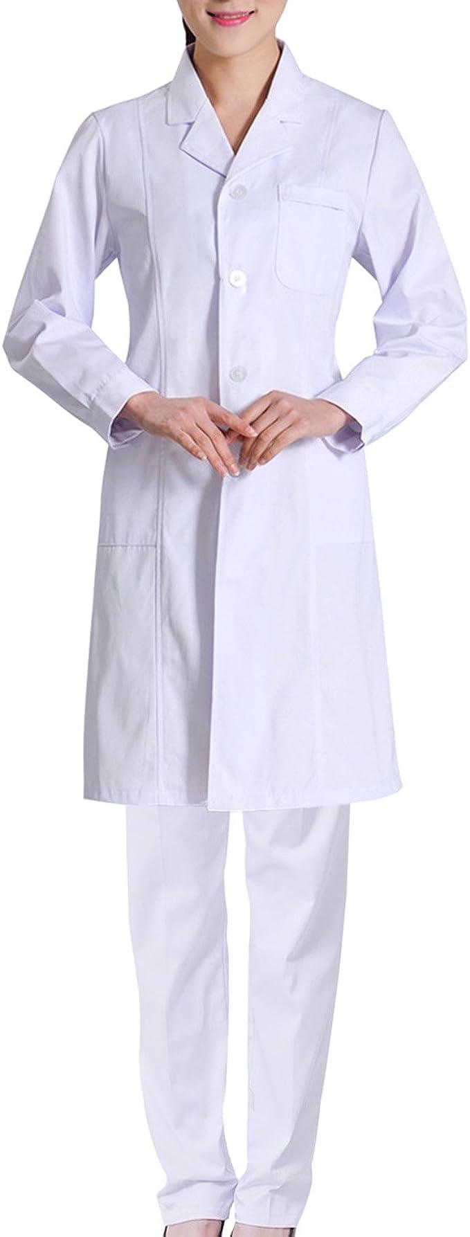 Sasairy Mujer Bata Médico de Poliéster Manga Larga + Pantalones Médicos con Banda Elástica Bata de Laboratorio Enfermera Sanitaria de Trabajo para Médicos Científico Enfermera: Amazon.es: Ropa y accesorios