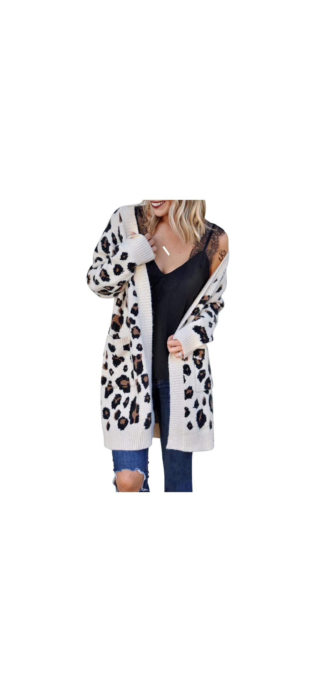 Women's Cardigans With Pockets Oversized Loose Leopard