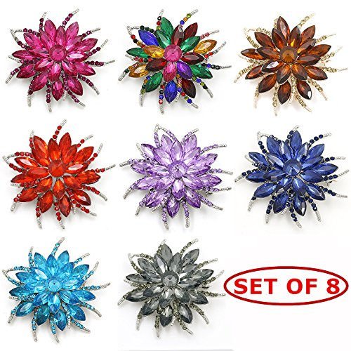 - JewelBeauty Woman Lady Girl Brooch Corsage Hair Clips Barrettes Accessories Feather Flower For Wedding Party (set of 8)