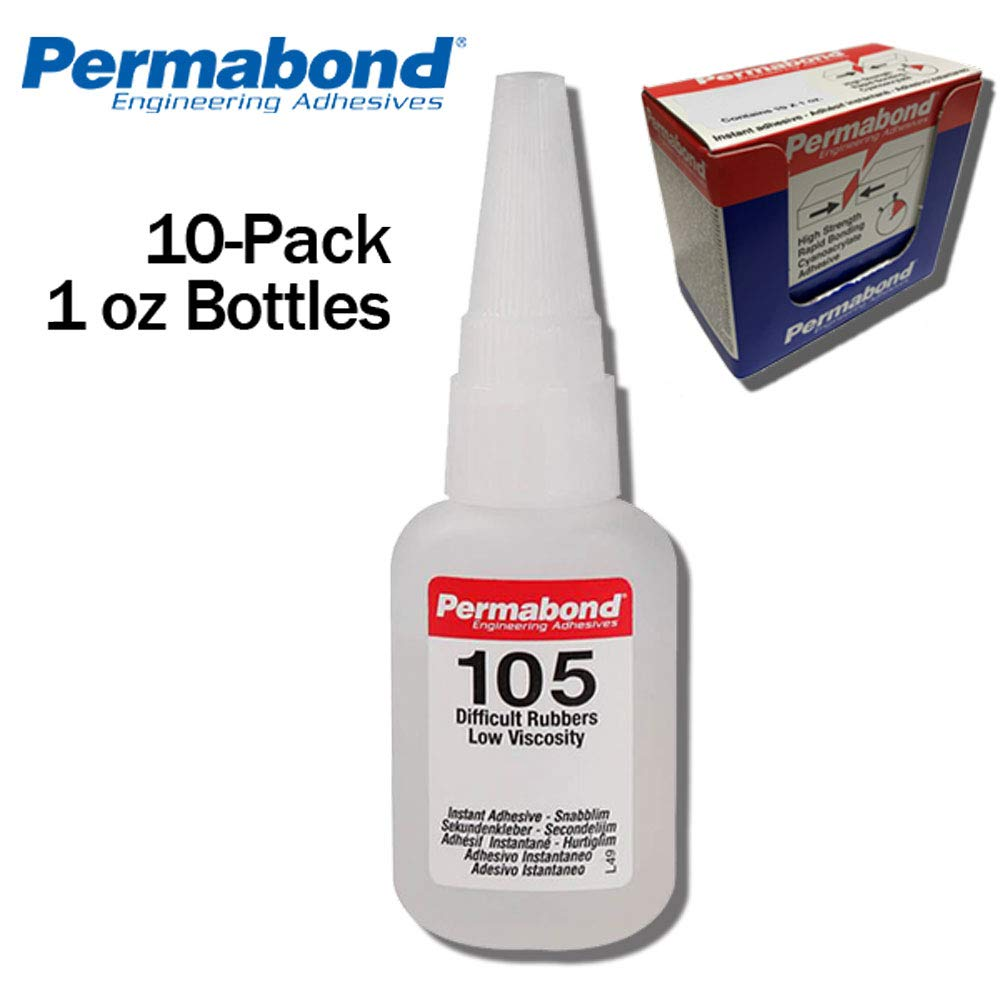 Permabond 105 (1oz 10-Pack) Instant Adhesive-for Difficult Plastics & Rubbers (Like EPDM)