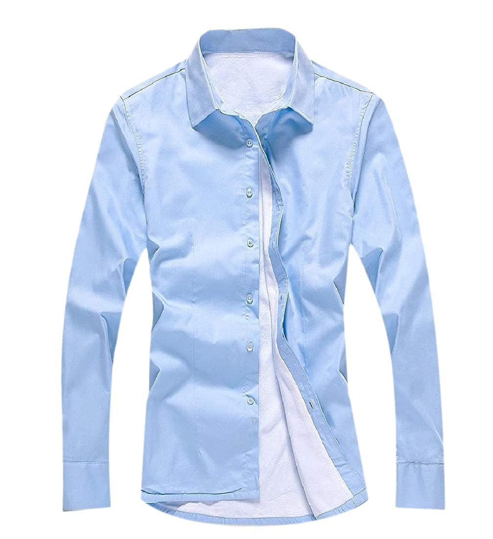 YUNY Mens Casual Button Warm Business Fleece Thicken Skinny Western Shirt Light Blue S