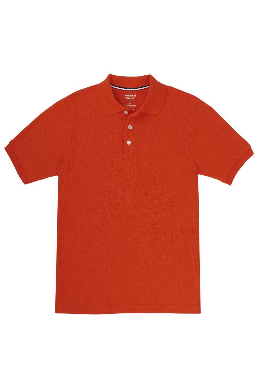 French Toast Big Boys' Short Sleeve Pique Polo, Orange, Large/10/12