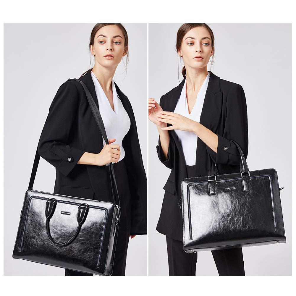 BOSTANTEN Women Genuine Leather Briefcase Tote Business Vintage Handbag 15.6'' Laptop Shoulder Bag Black by BOSTANTEN (Image #2)