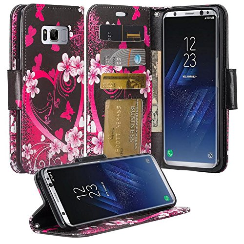 Galaxy Wireless Compatible for Samsung Galaxy S8 Wallet Case, Wrist Strap Flip Folio [Kickstand Feature] Pu Leather Wallet Case with ID&Credit Card Slot for Galaxy S8 - Hot Pink Heart