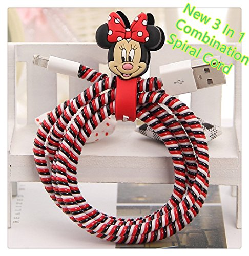 Tospania 3 in 1 Multi-Colored DIY Spiral Wire Protectors for Apple Lightning Cables/Samsung and other Tablet Charging Cables/ Earphone Cords and More- Minnie Mouse