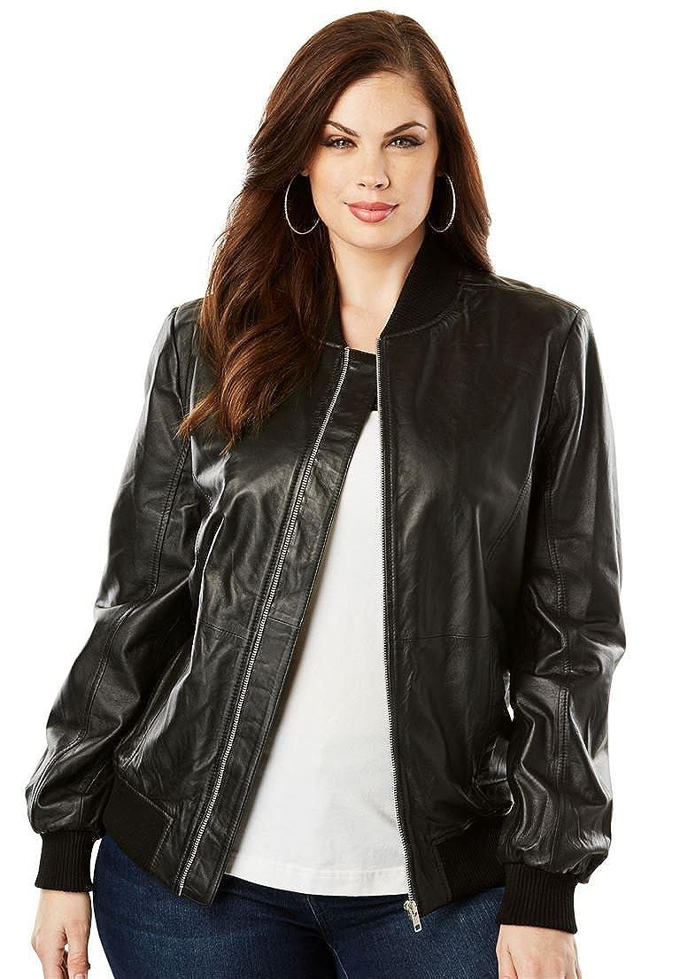 6cc99afe354 Roamans Women s Plus Size Classic Leather Bomber  1541023001-390107 ...