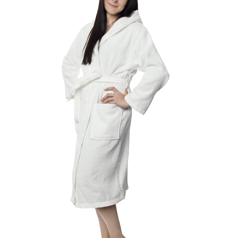 TALLA XS. Twinzen Albornoz de Baño para Mujer con Capucha - 100% Algodón Certificado Oeko Tex - Bata Baño Mujer 2 Bolsillos, Cinturón y Cierre - Suave, Absorbente y Cómodo