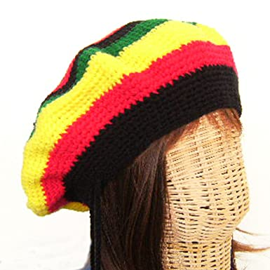9df3785d0cb Image Unavailable. Image not available for. Color  Rasta Reggae Tam Hat  Jamaiga Hippy Beret Canabis Crochet ...