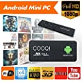 COOQI Android Mini PC with Remote Control, TV Box for Android 5.1.1 Quad Core Streaming Media Player Support TF Card and U Disk