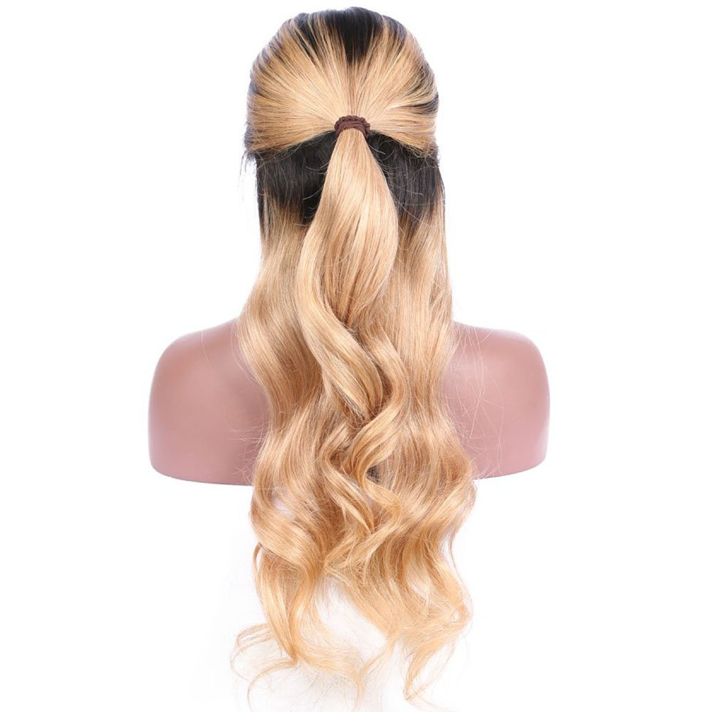 Wicca Brazilian human hair Ombre blonde Full lace wigs Dark root Loose wave Lace front wig Bleached knot Pre plucked hairline 150%density (18inch, 1b/27 lace front wig) by Wicca (Image #3)