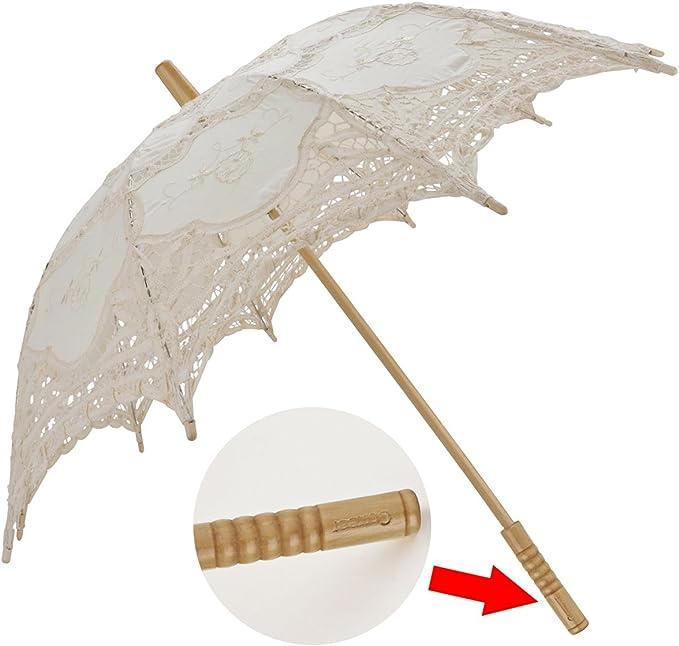 Size L White BESTOYARD Stylish Western Style Umbrella Lace Parasol Decoration Wedding Bride Umbrella