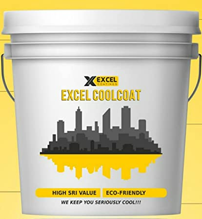 EXCEL CoolCoat - By EXCEL COATINGS Solar Heat Reflective Roof Coating  Summer Cool Paint (White) - Pack of 20 L