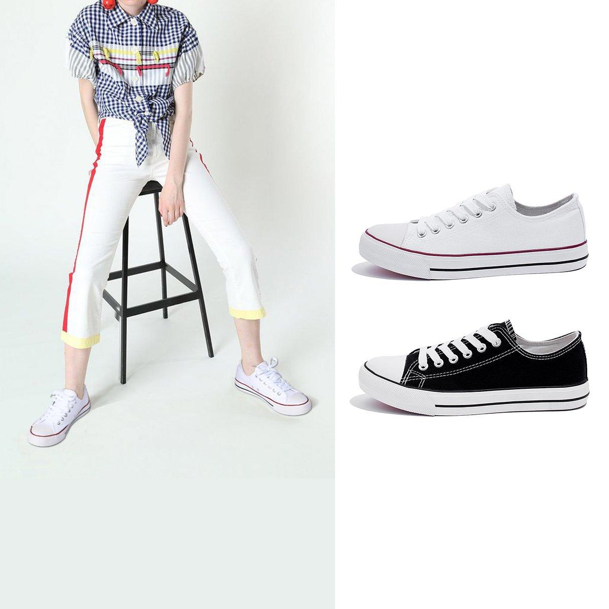 AOMAIS Womens Canvas Shoes Sneaker Low Top Lace up Fashion Walking Shoes (US7, white1) … by AOMAIS (Image #6)
